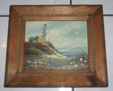 Oil on Board BRIAN ROCHE Painting Lighthouse Seagull seaside Boat ocean nautical