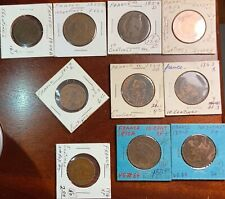 France 5 & 10 Centimes - Napoleon, Ceres, Marianne! TEN COIN LOT! 1854-1916!