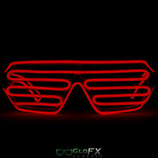 GloFX Luminescence Shutter Frames- White w/ Red Light Show Glow 3d Shades EDM