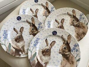 (4) NEW Royal Stafford Easter Bunny Blue Flowers Dinner PLATES SET🎊 🎉