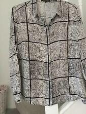 Black/white print silk top/blouse Jaeger size 14/16 BNWOT