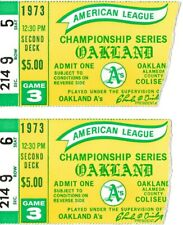 PAIR 1973 ALCS GAME 3 BALTIMORE ORIOLES @ OAKLAND A'S BASEBALL TKT STUBS GAME 3