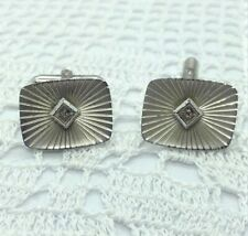 1980s Sterling Silver Diamond Set Cufflinks By Hayward. E255