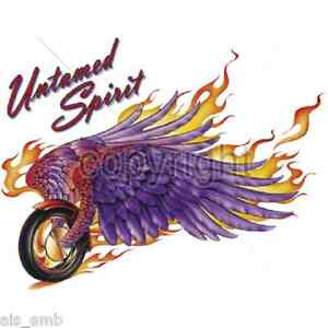 Biker Untamed Spirit HEAT PRESS TRANSFER for T Shirt Sweatshirt Tote Fabric #045