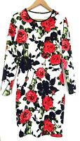 Dress UK14 Gina Bacconi White Red Navy Floral Stretch Knee length Long Sleeves