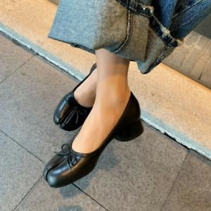Women Fashion Pumps Leather Bowknot Tabi Split Toe Mid Heel Ballet Shoes Slip On
