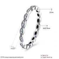Solid 925 silver sterling slim Delicate Band of Shimmering Leaves stone Ring