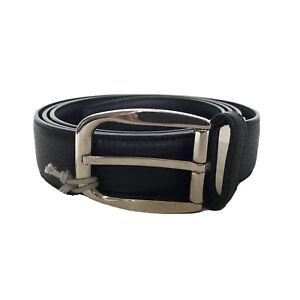 L-3988968 New Brioni Black Leather Square Silver Buckle Belt Size 46 Fits 44