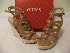 GUESS Onixx Brown Leather Heel Wedge Platform Sandal  Size 8.5 NIB $110