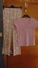 M&S 2 Part Pure Cotton Pyjamas Set S/Sleeve Top/Long Pants 24-26 Lilac Mix BNWT