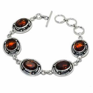 "Hessonite Garnet Gemstone Handmade 925 Sterling Silver Jewelry Bracelet Sz 7-8"""