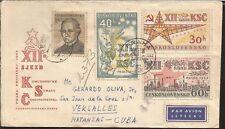 L) 1962 CZECHOSLOVAKIA, SYMBOLIC CRANE, SCOTT A436, 30H DK RED & YEL, 60H BLACK