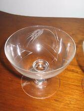 """Set of 4 Sasaki Wheat Smooth Stem Vintage Crystal Low Sherbert 3 1/8"""" Cut Wheat"""