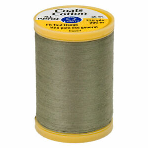 COATS & CLARK Thread GREEN LINEN 3 SPOOLS 100% Cotton 225 yards each 35 wt