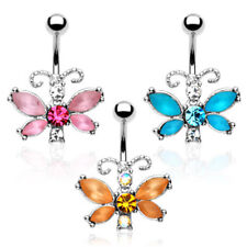 3pcs Frosted Gem Butterfly Dangle Style 14g Belly Rings Navel Naval (B201)