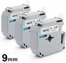 3X M-K221 Schwarz auf weißem Etikettenband Compatibel with Brother PT-65SCCP