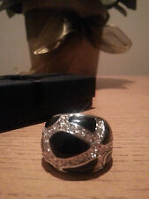 GORGEOUS BLACK ENAMEL AND CZ SILVER TONE DOME RING SZ 8