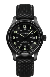 Hamilton Khaki Field Auto Black Dial Canvas Strap Men's Titanium Watch H70575733
