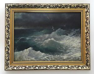 Painting 1992 the style of Aivazovsky, oil