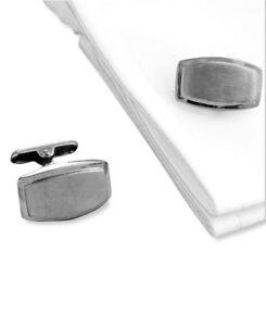 $74 Kenneth Cole Mens Silver Rhodium Cufflinks Formal Wedding Dress Wrist Cuffs