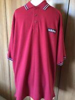 """BNWT VINTAGE ORIGINAL adidas Tennis Red Response Polo Shirt 1990s Sz L 44"""" B12"""