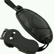NUOVO apparecchio fotografico Hand Grip Cinghia da Polso Cinghia in pelle nera design rotondo per tutte le reflex