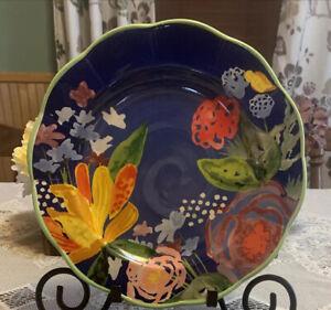 """Pioneer Woman Celia Spring 2018 Cobalt Blue Floral W/Green (Dinner Plate 10"""""""