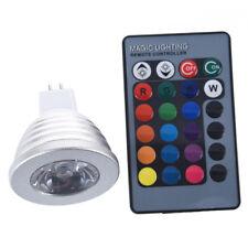 MR16 3W 16 Color RGB LED Light Bulb Lamp + IR Remote Control G9T1