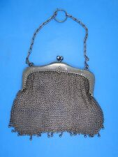 """ANTIQUE FRENCH 19c. STERLING SILVER CHAIN MAIL MESH PURSE 6"""" W / 119g"""