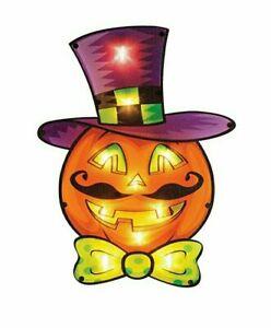Halloween Pumpkin Lighted Vintage Window Silhouette Decoration