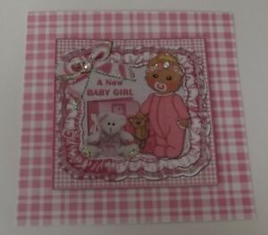 PK 3 A NEW BABY GIRL EMBELLISHMENT TOPPERS FOR CARDS OR CRAFTS