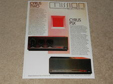 Mission Cyrus TWO, PSX Amplifier Ad, 1987, 1 pg,Article