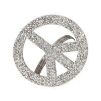 Rhinestone Classic PEACE Sign Holiday Crystal Napkin Rings Set 4 NIP New Retro