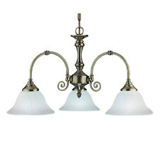 Searchlight 3 Lights Traditional Brass White Glass Ceiling Fitting Chandelier