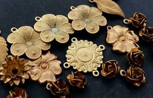 Vintage All Brass Flower and Leaf Charms Findings Mix 18