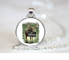 Moose On The Loose PENDANT NECKLACE Chain Glass Tibet Silver Jewellery
