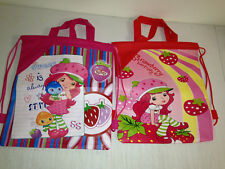 2 STRAWBERRY SHORTCAKE TOTE BOOK GYM BAG PINK GIRLS BOYS backpack RED