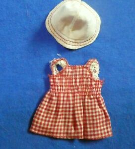 Vintage Barbie Tutti Doll - Vintage Tutti Doll Red and White Checked Dress + Hat