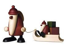 Björn Köhler Kunsthandwerk Weihnachtsmann mit Geschenkeschlitten & Kind Nr.7091