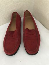 Tod's Red Suede Driving Loafer Women SZ 8