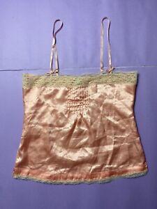 Satin Pink Lace Vintage Style Cami Camisole Vest Tank Top