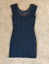 River Island Women's Sleeveless Bodycon Lace Mini Dress In Blue Size 10