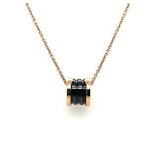 Bvlgari B.Zero1 18K Rose Gold, Black ceramic spiral necklace.