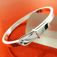 BANGLE BRACELET GENUINE 925 STERLING SILVER S/F SOLID CUFF BELT BUCKLE DESIGN