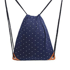 Women Canvas Storage Bags School Backpack Travel Pouch Polka Dots Drawstring Bag