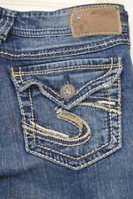 Women's Silver Denim Jeans SUKI SURPLUS Flap Pocket Bootcut Thick Stitch Sz 27