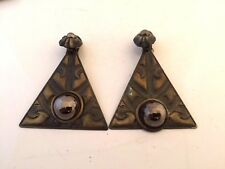 BOUCLES D'OREILLE CLIPS TRIANGLE AVEC PERLE CABOCHON VINTAGE FRENCH EARRINGS