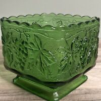 Vintage Indiana Green Glass Grapevine Design Footed Square Dish Bowl
