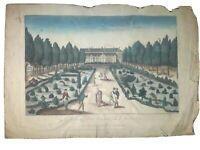 Vue d'optique, Gravure aquarellée XVIIIé Jardin des plantes éd. Chéreau
