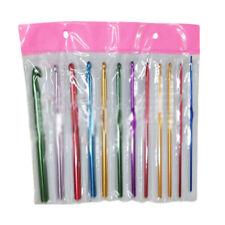 12Pcs Multi Coloured Aluminium Crochet Hooks Yarn Knitting Needles Set 2mm-8mm